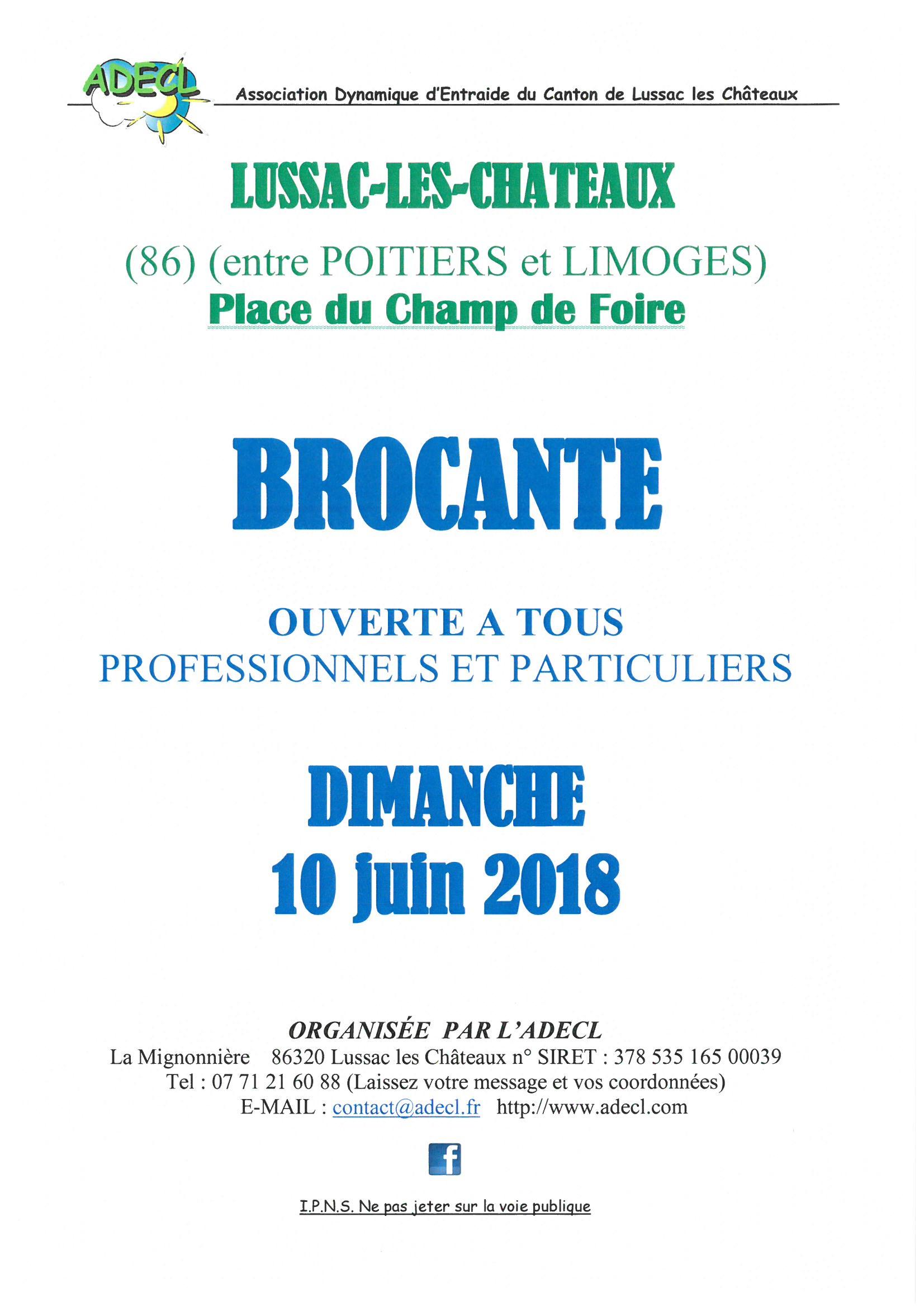 affiche brocante 10 juin – adecl